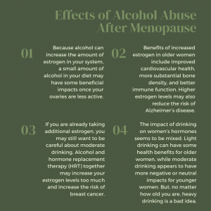 infographic on effects of alcohol after menopause
