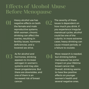 infographic on the effects of alcohol before menopause