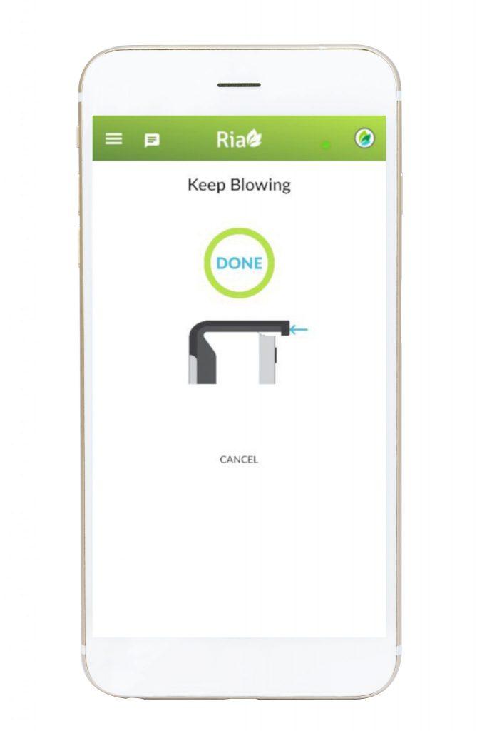 Ria Health app showing breathalyzer finished