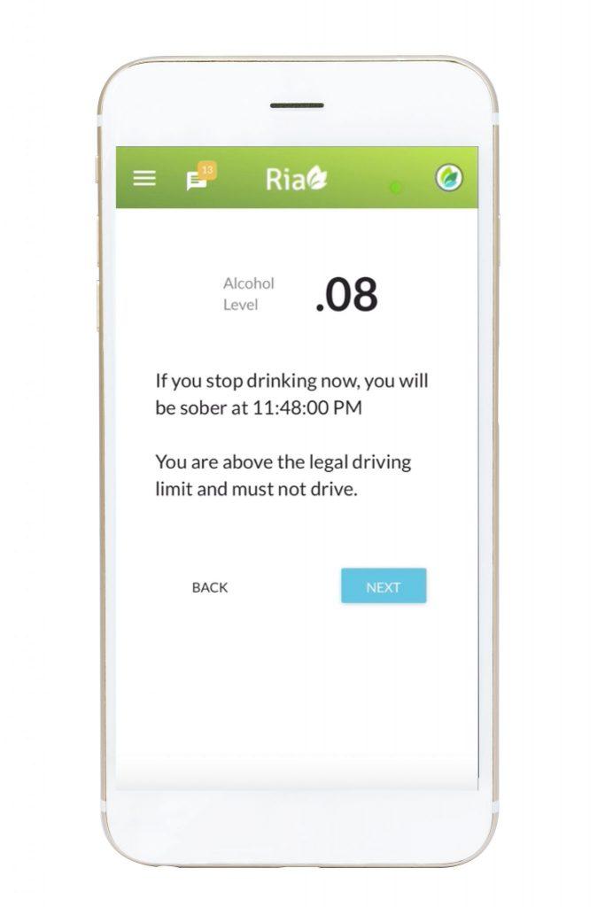 Ria Health app showing a breathalyzer reading