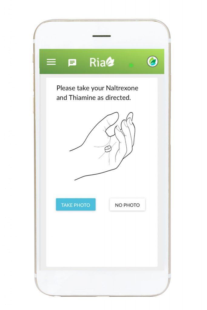 Ria Health App featuring medication reminder