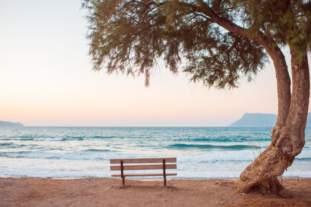 rehab is outdated, bench by the seaside