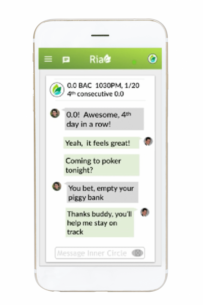 screenshot of chat with friend, Ria Health Inner Circle