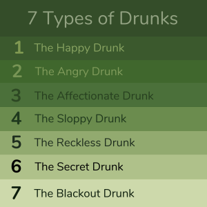 list of the 7 types of drunks infographics