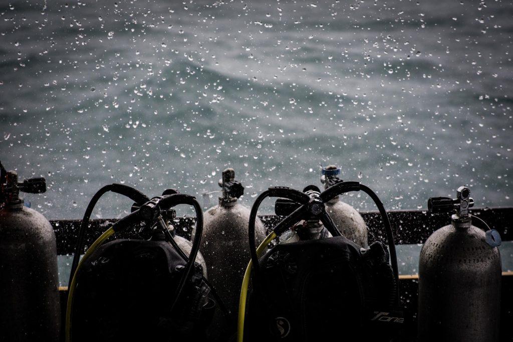 oxygen tanks underwater