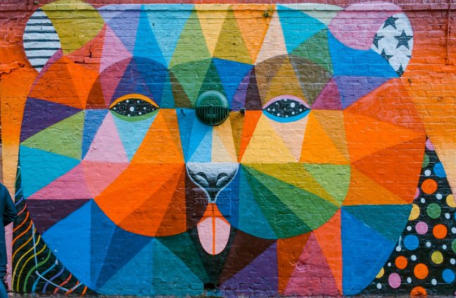An imagine of a bears face painted onto a wall. The bear has galaxy/star eyes, and instead of fur the bear is made up of alternating coloured triangles.