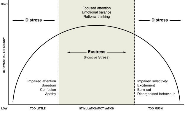 A chart of an arch that moves through 3 sections. 1. Distress: Too Little. Impaired attention, Boredom, Confusion, Apathy. 2. Eustress (positive stress): Stimulating/Motivating. Focused attention, Emotional balance, Rational thinking. 3. Distress: Too Much. Impaired selectivity, Excitement, Burnout, Disorganized behaviour.