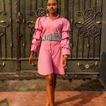Pink Striped Collared Two-Piece with Statement Sleeves