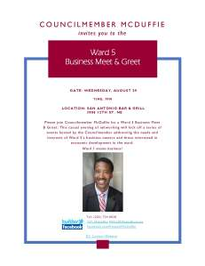 Ward 5 Business Meet Greet invitation