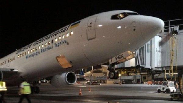 Самолет МАУ, севший на хвост в Тель-Авиве