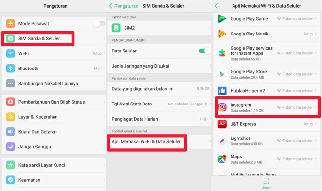 settings paket internet smartphone android