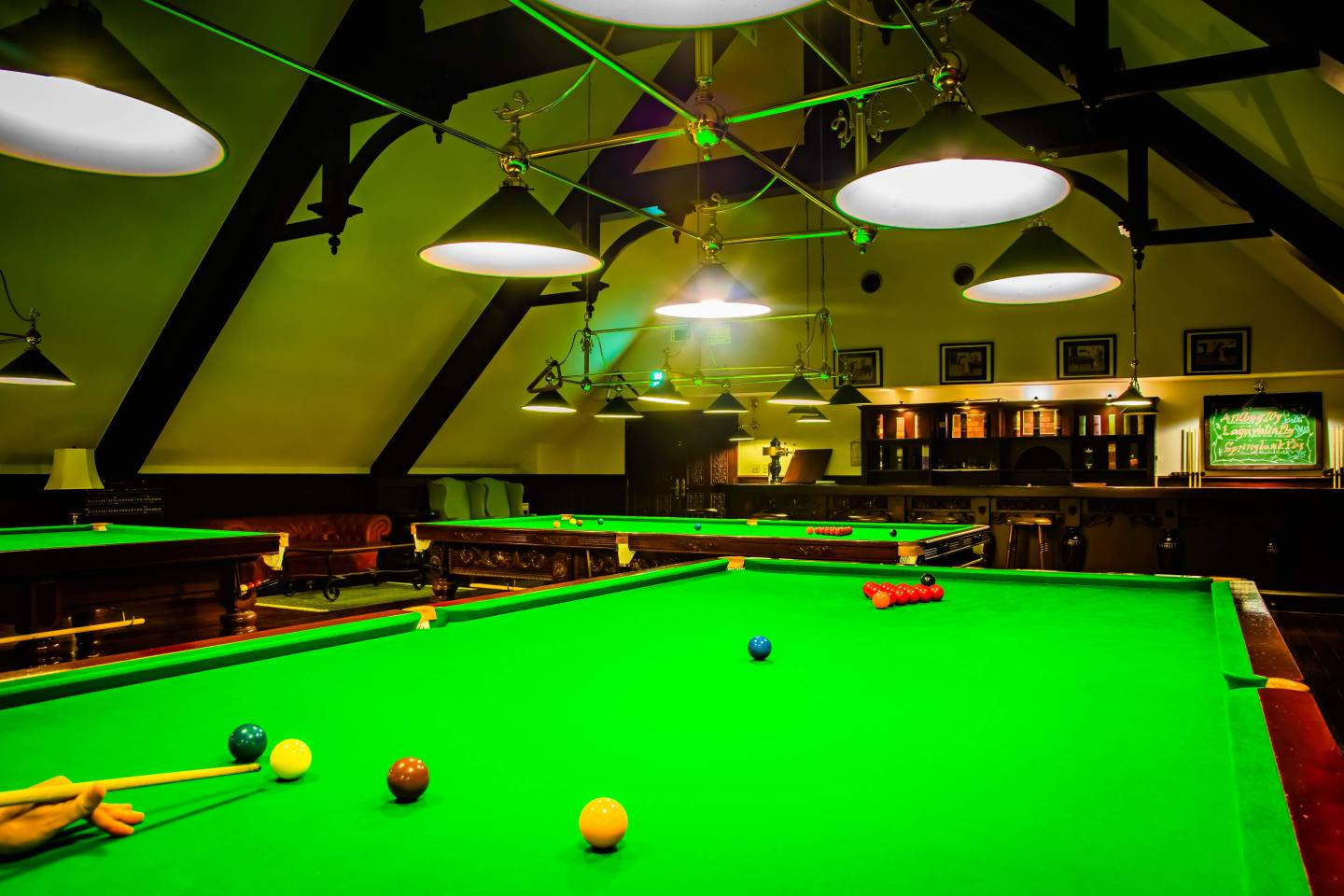 Snooker Room: A British origin tradition invented in the 18th century. There are three full-size Thurston mahogany snooker tables imported from Liverpool, England.