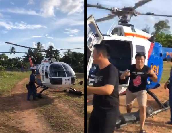 Warga sipil naik helikopter polisi