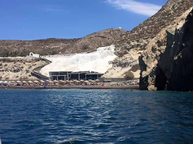 Arriving at Black Beach - Santorini, Greece