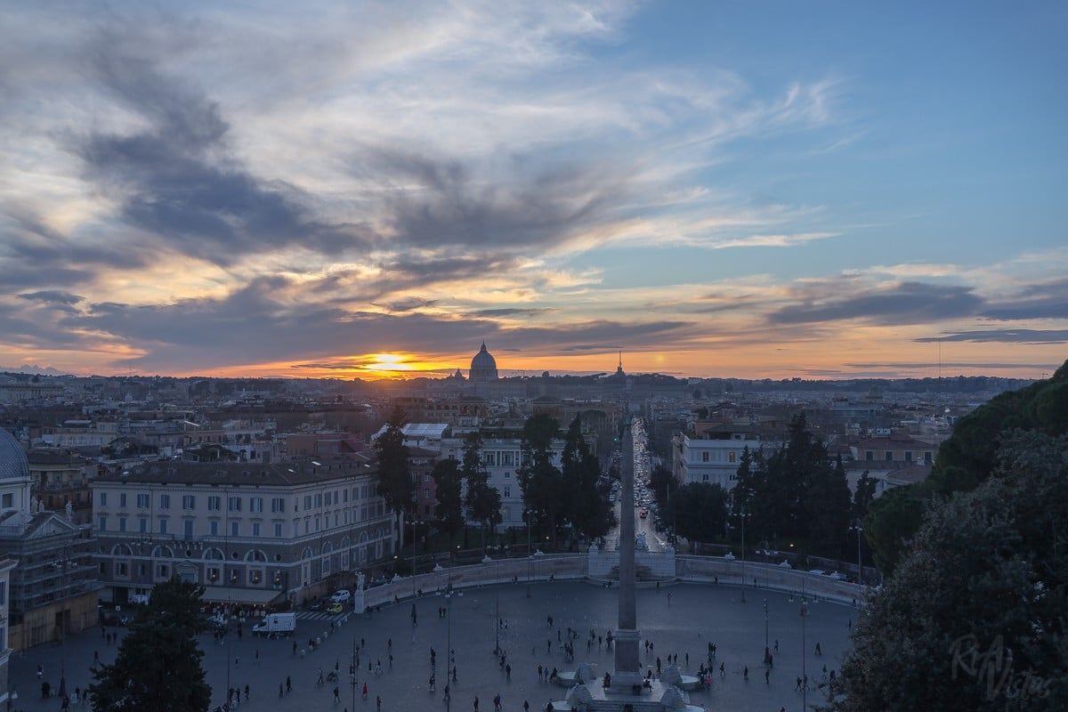 Sunset at Pincio Terrace - Rome, Italy
