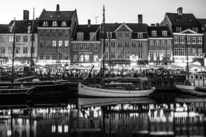 Nyhavn harbour in black and white - Copenhagen