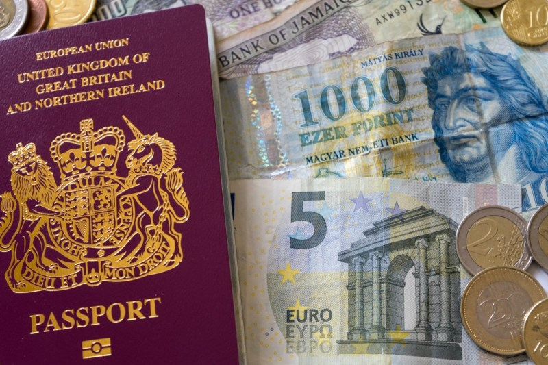 Picture of passport and money