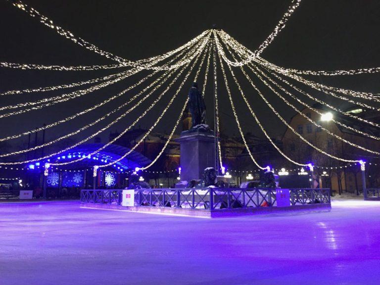 Kungsträdgården Ice Rink at night - Stockholm