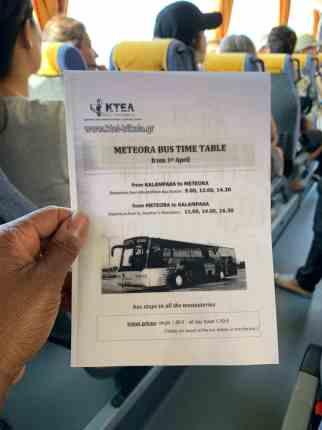 Meteora Bus timetable