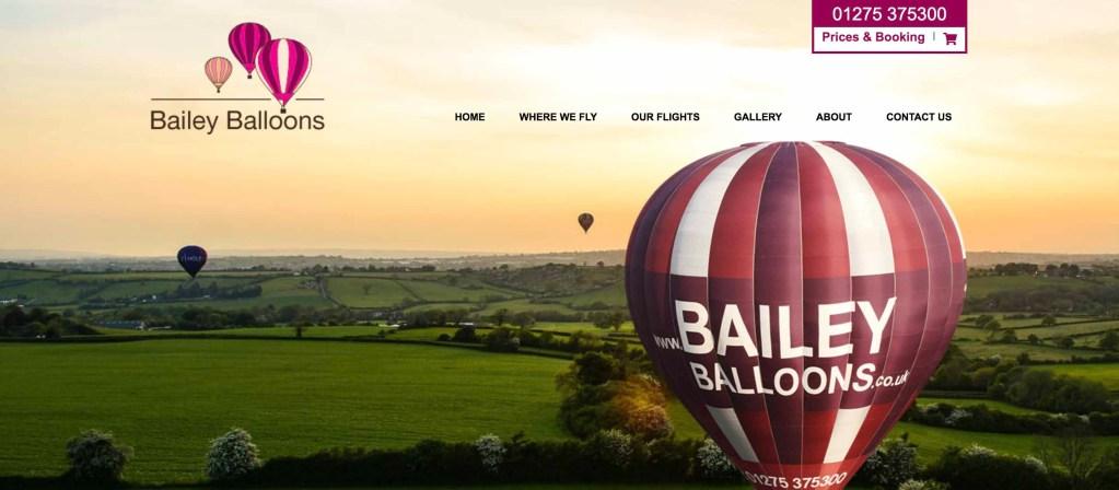 Baileys Balloons website - Bristol
