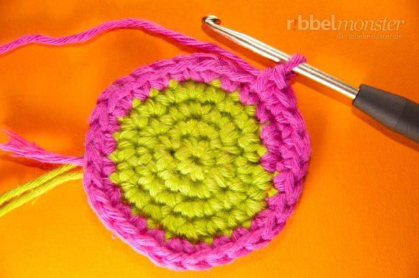 Farbwechsel - Kreise häkeln - Spiralrunden