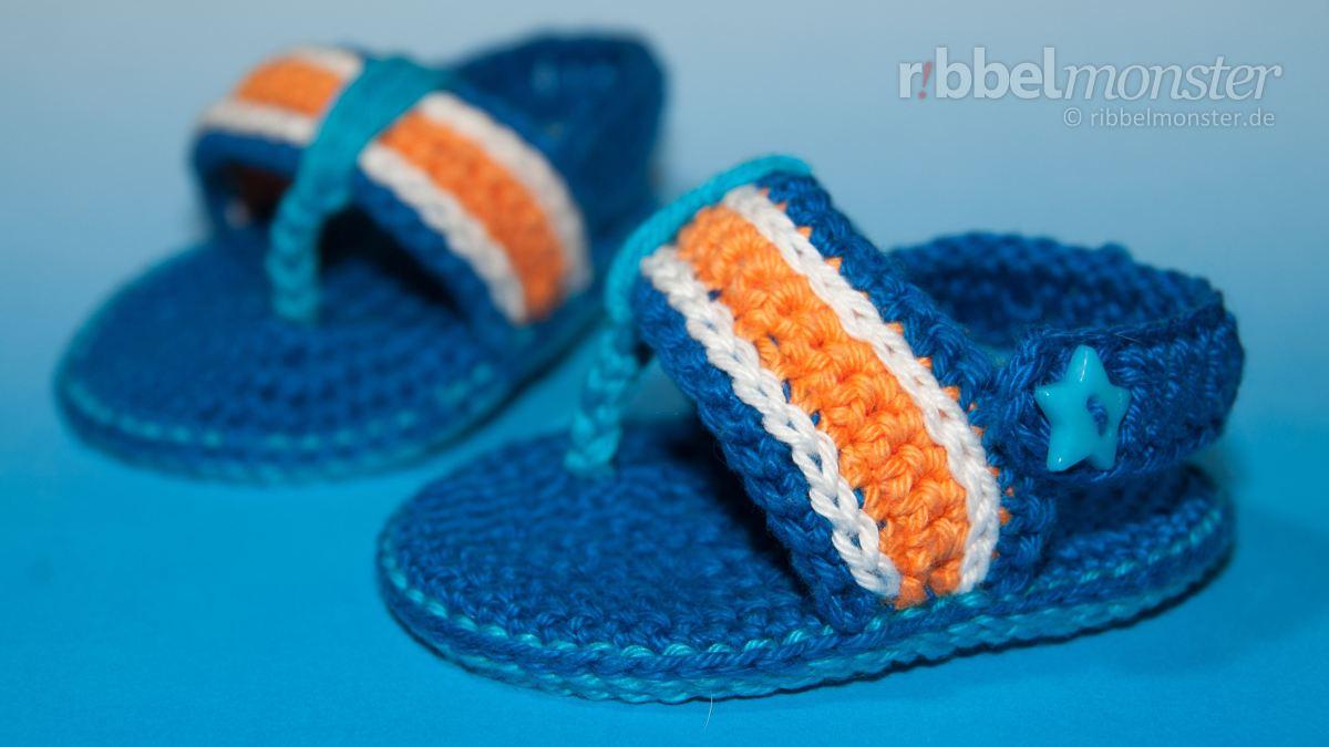 "Babyschuhe häkeln: Flip Flops ""Twister"" - aqua"