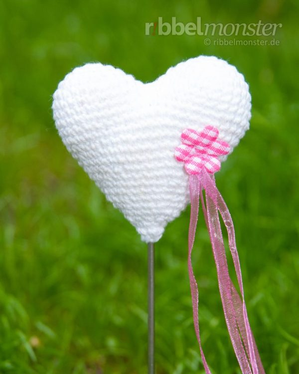 Anleitung - Amigurumi - Herz Blumenspieß häkeln