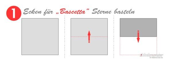 Ecken für Bascetta Sterne basteln - Grundanleitung - Faltanleitung - Schritt 1
