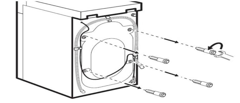 Retirez tous les boulons de la paroi arrière de la machine à laver