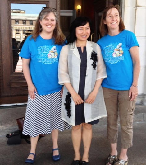 Cheryl Space (OLIS), Thanhha Lai (author of Inside Out & Back Again, and Kate Lentz (RICFB Director)