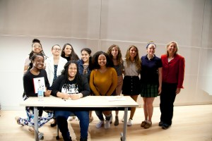 Angie Thomas with Students
