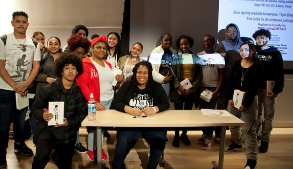 Angie Thomas and students