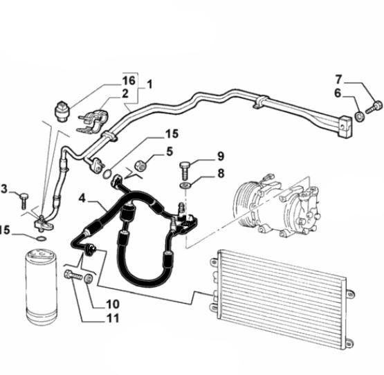 Klimaleitung am Klimakompressor Alfa Romeo 147, GT