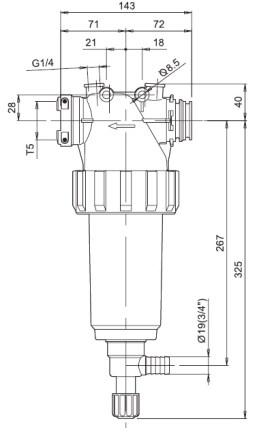 Dimensioni FILTRO LINEA 32621M3 ARAG