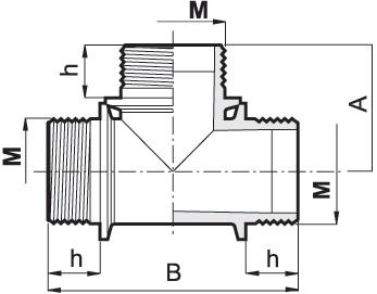 Disegno tecnico RACCORDO A T G1 1 4M 1312050 ARAG