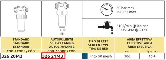 Tabella FILTRO LINEA 32621M3 ARAG