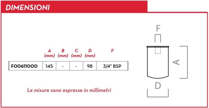 Dimensioni PIUSI CARTUCCIA F00611000