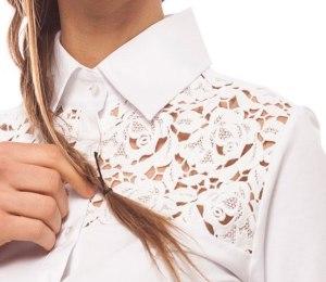 Camicia decorata con pizzo San Gallo. Ricamo traforato al laser.