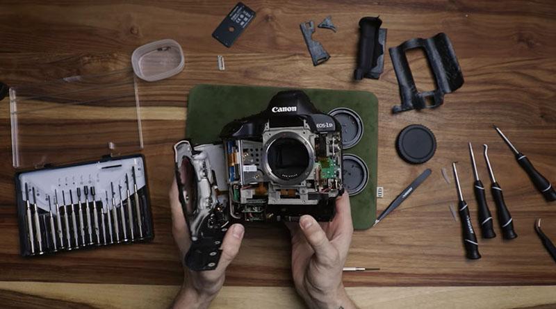 Desmontando uma câmera Canon profissional de 6 mil dólares