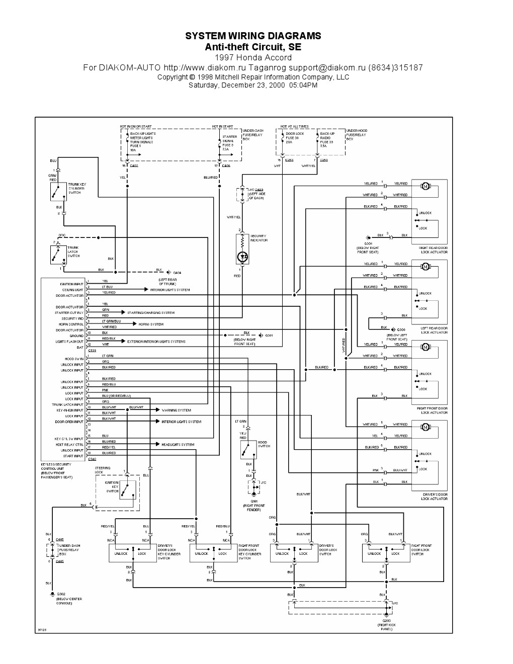 honda civic ignition switch diagram