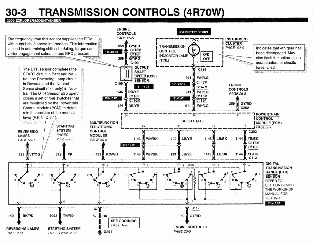 4r70w Wiring Diagram Simple 1999 Ford Explorer Engine Data Schematic