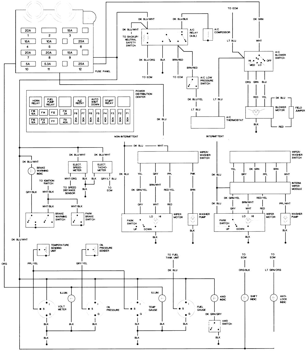 medium resolution of tj wiring diagram instrument wiring diagram technic 1993 jeep dash light wiring