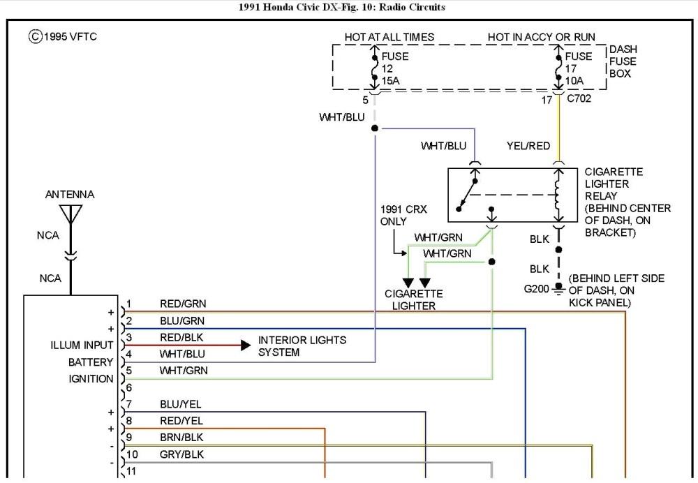 medium resolution of 98 honda civic radio wiring diagram