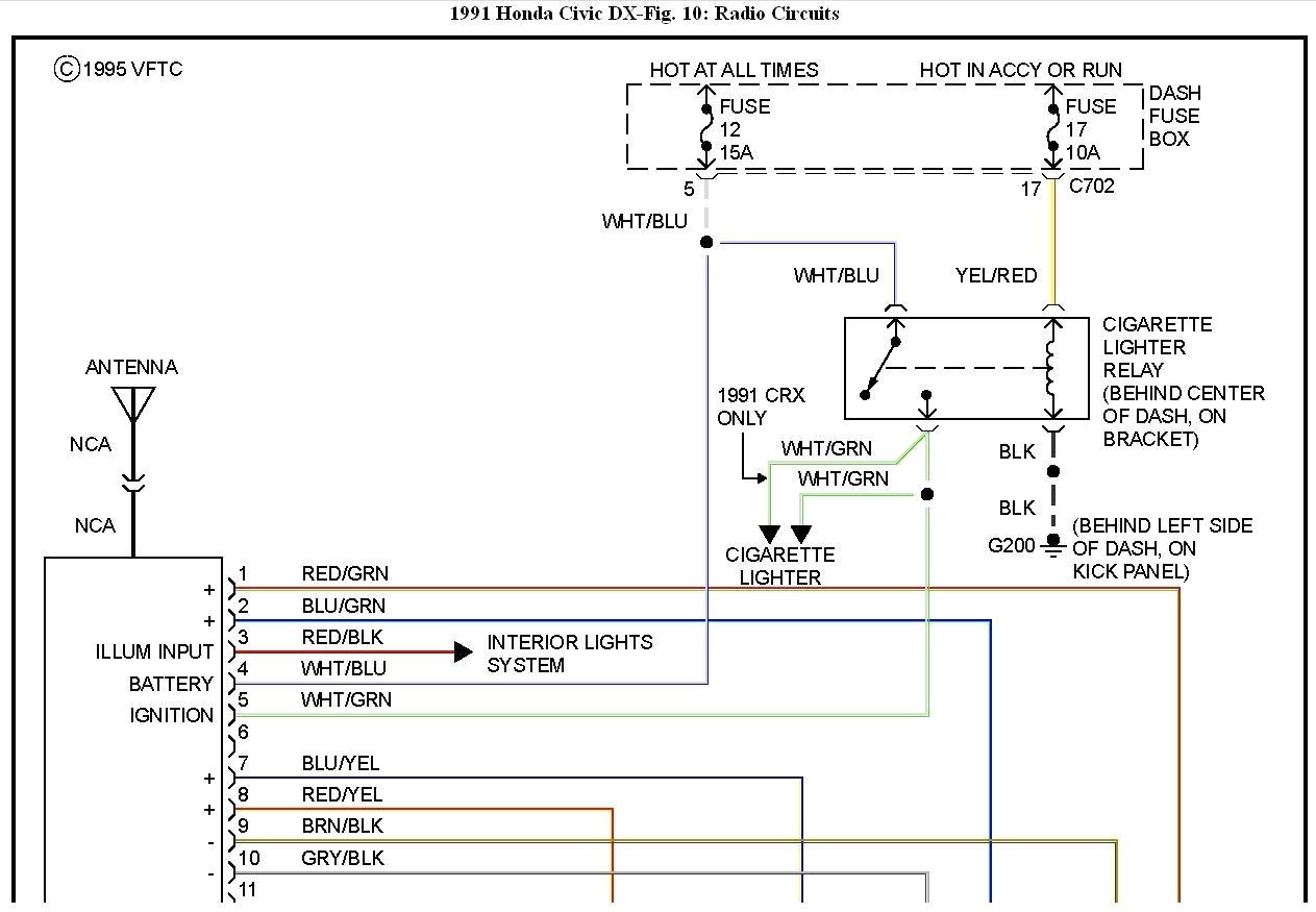 hight resolution of 98 honda civic radio wiring diagram