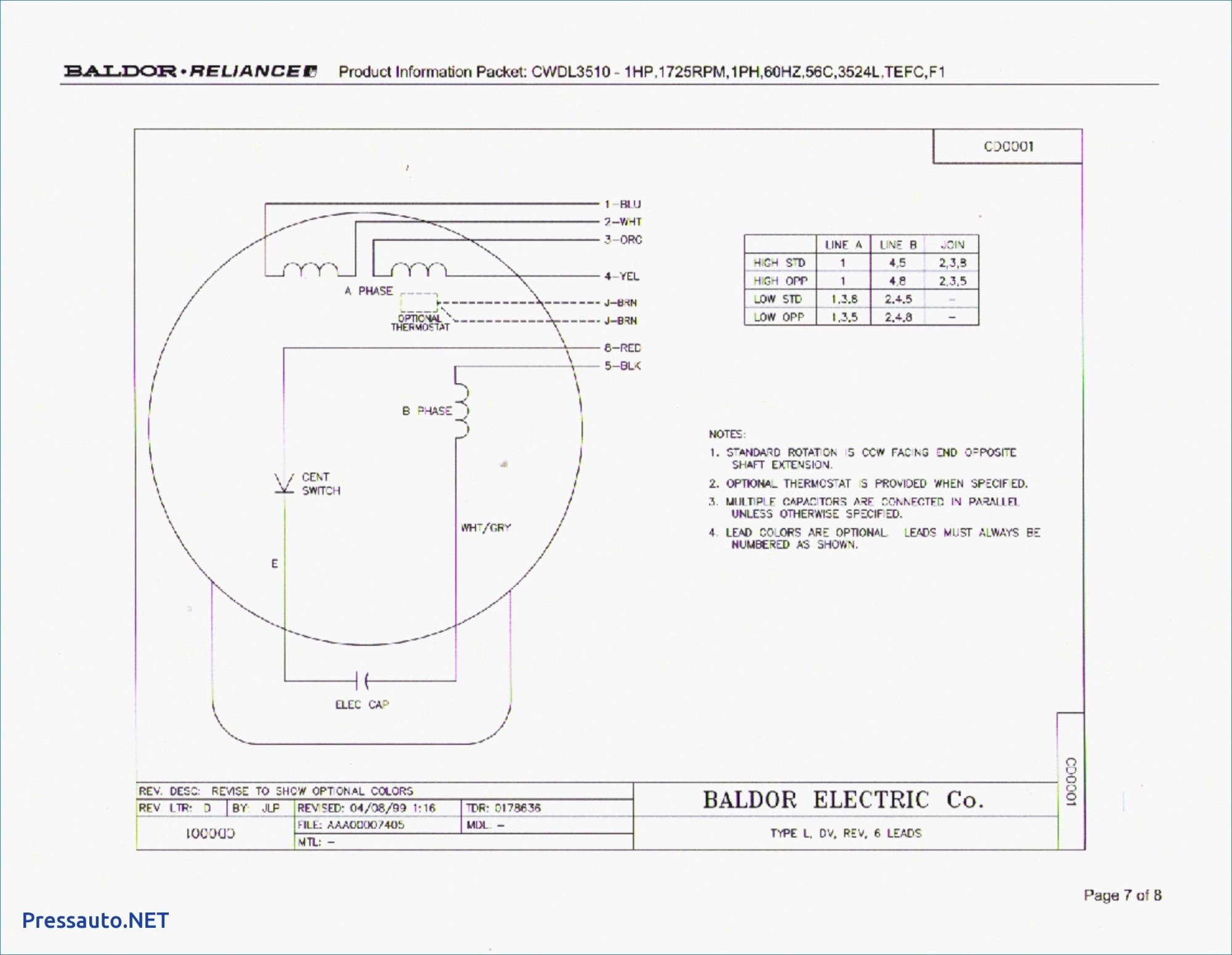 Baldor Reliance Single Phase Motor Wiring Diagram - on