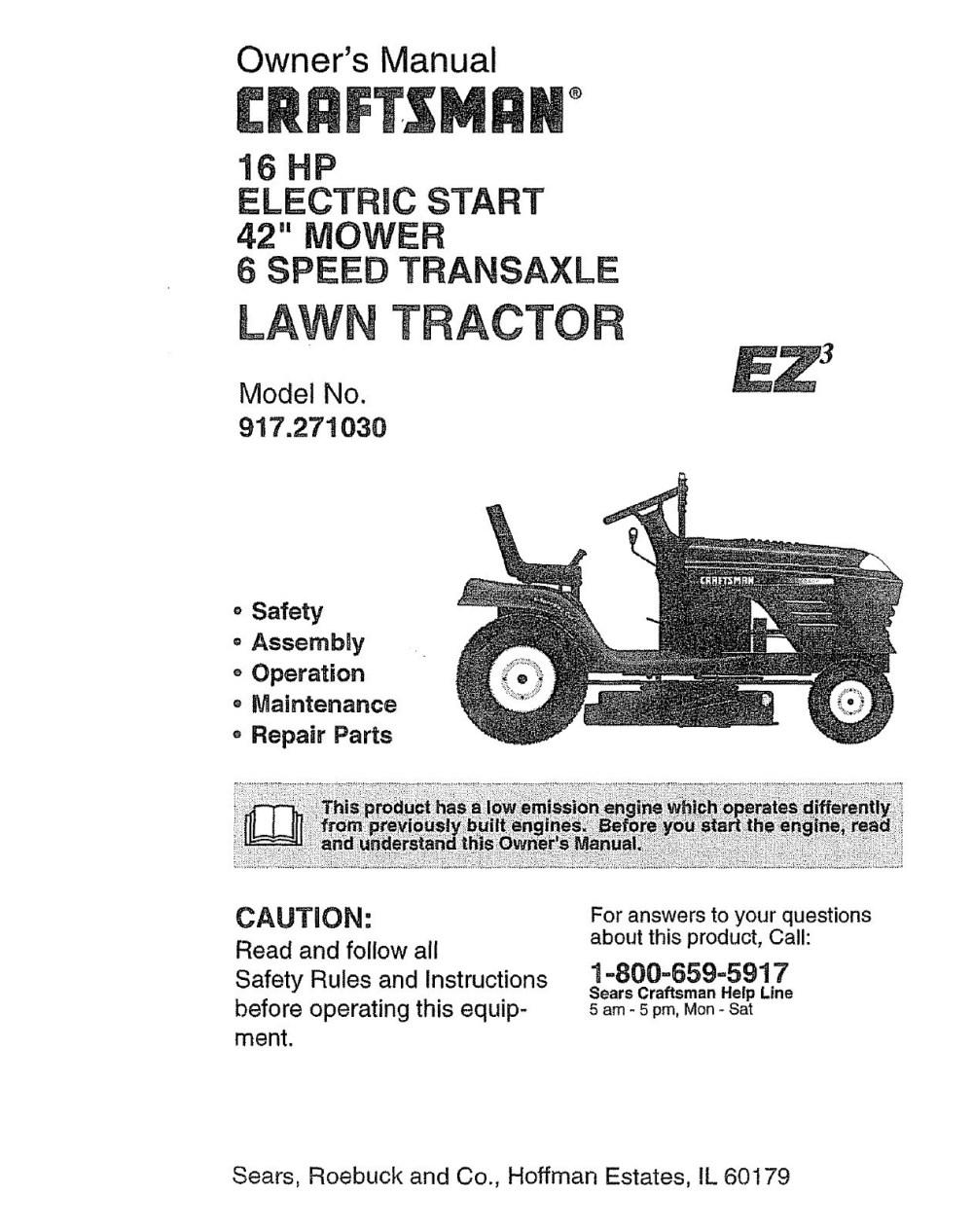 medium resolution of craftsman lawn mower model 917 wiring diagram