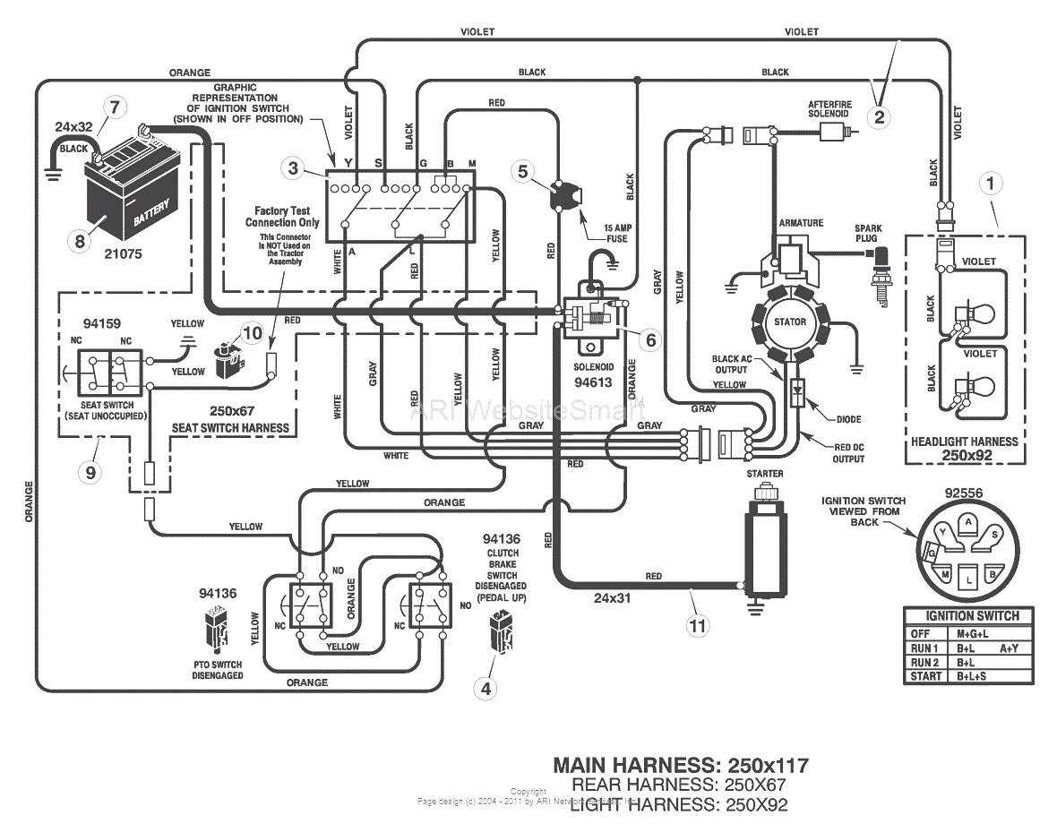 lt1000 riding mower wiring diagram