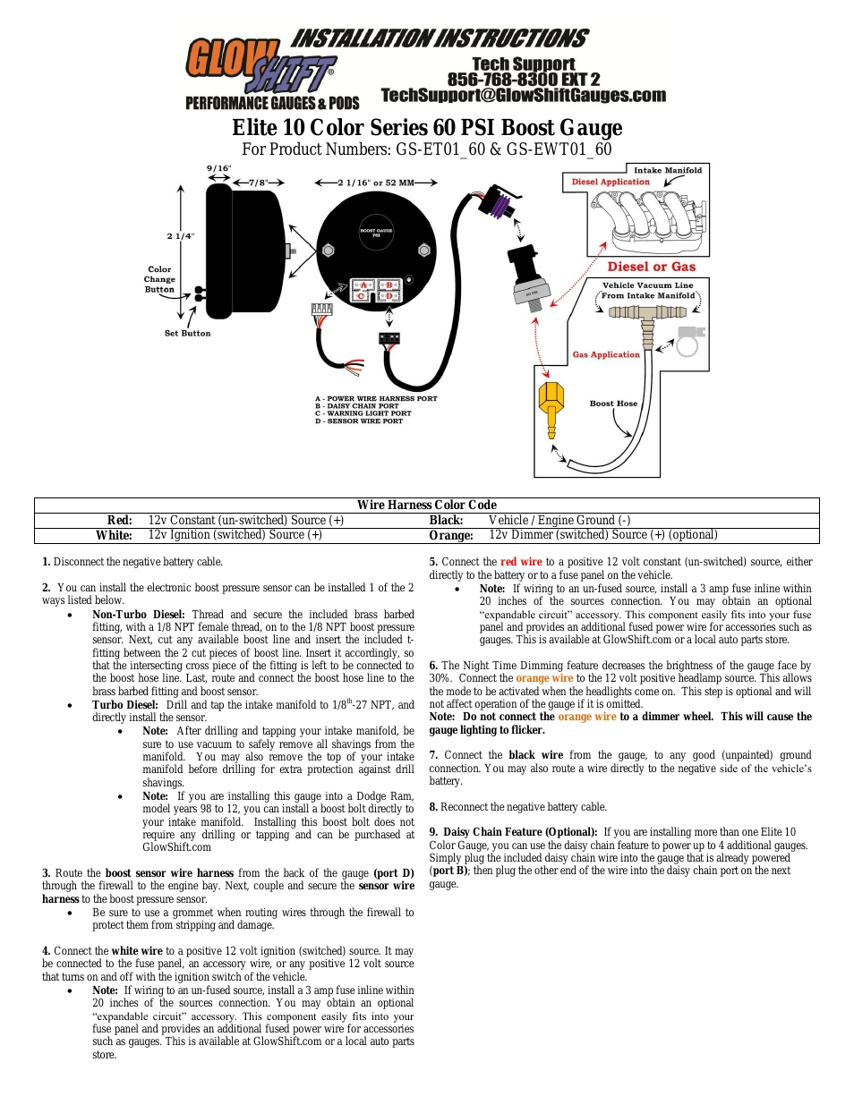 wiring diagram for glowshift boost gauge