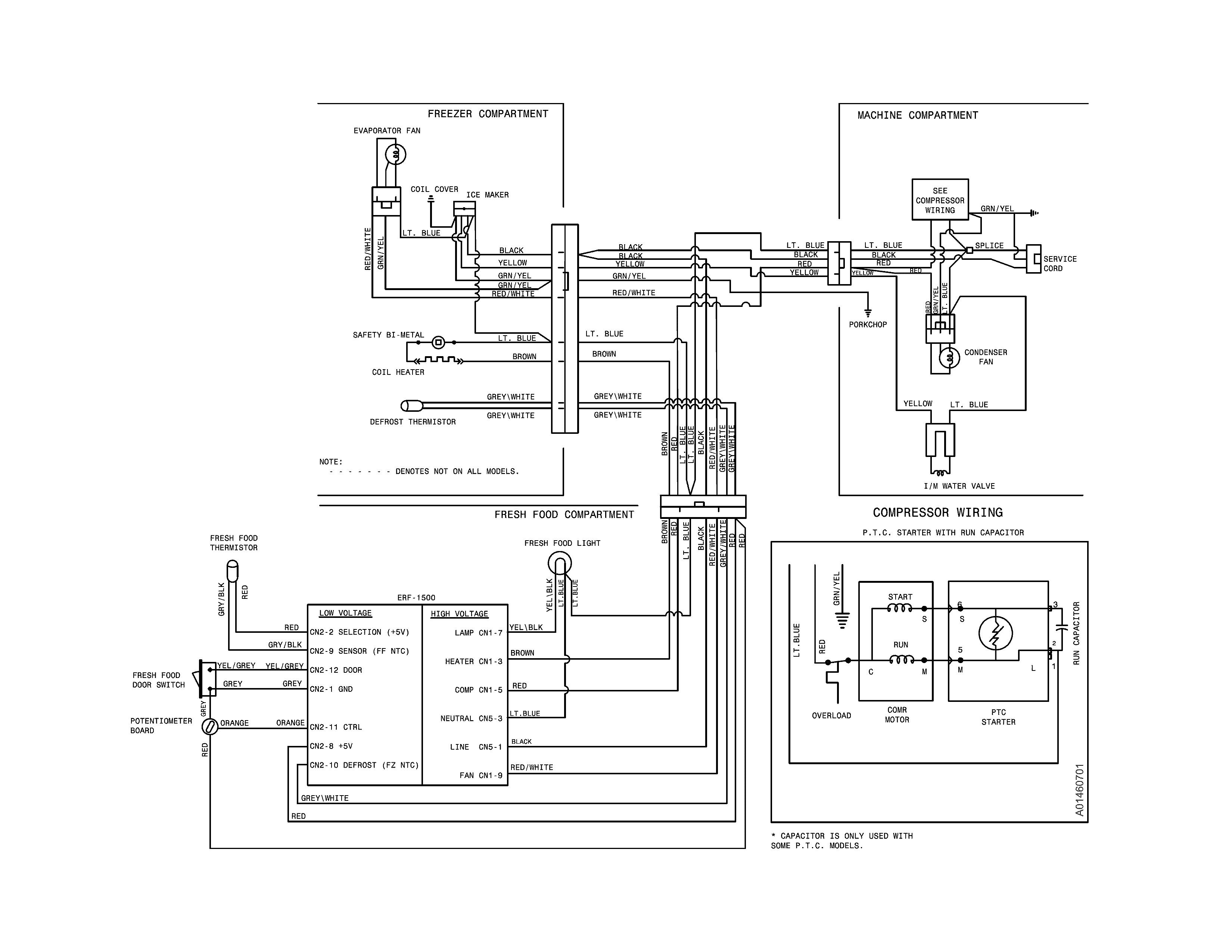wiring schematic for frigidaire refrigerator