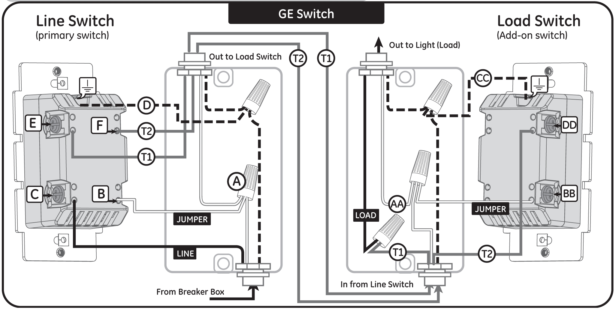 dual pole wiring diagram two switches one light